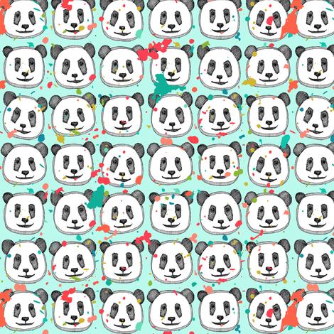 splatter pop panda cookies mint mini fabric by scrummy on Spoonflower - custom fabric