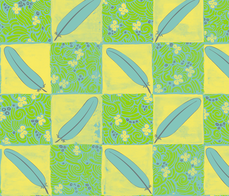 feather & flower tiles fabric by janicesheen on Spoonflower - custom fabric