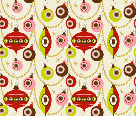Christmas Swag ~ peppermint, lime and bark fabric by retrorudolphs on Spoonflower - custom fabric