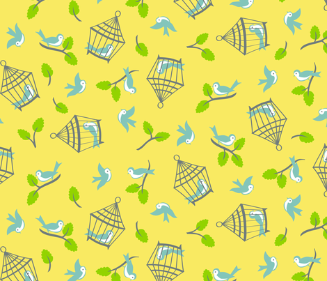 happy blue bird fabric by minimiel on Spoonflower - custom fabric