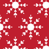 christmas snowflakes on red XL