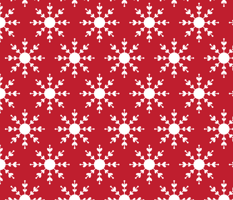 christmas snowflakes on red LG fabric by misstiina on Spoonflower - custom fabric