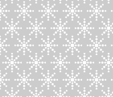 christmas snowflakes on grey LG fabric by misstiina on Spoonflower - custom fabric