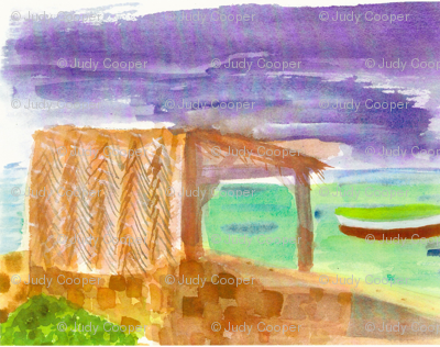 Watercolor of Aruba hut