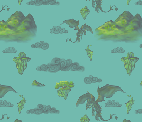 my first dragon fabric by glindabunny on Spoonflower - custom fabric