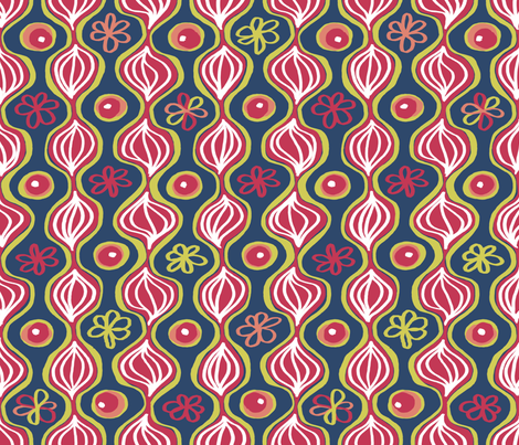 Matisse 4: With Onions.  Or are those leaves? In Red. fabric by tallulahdahling on Spoonflower - custom fabric