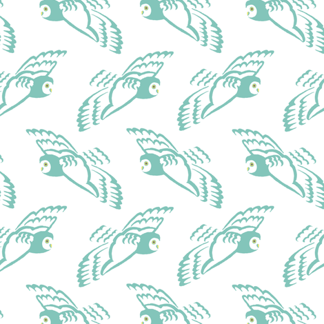 owl flight in teal fabric by creative_merritt on Spoonflower - custom fabric