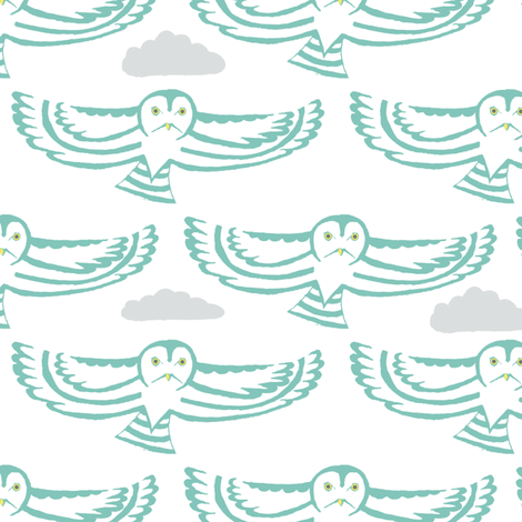 owl flight in teal with clouds fabric by creative_merritt on Spoonflower - custom fabric