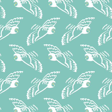 owl on teal sky fabric by creative_merritt on Spoonflower - custom fabric