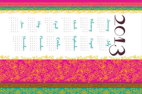 Bollywood Mehndi calendar fabric by monmeehan on Spoonflower - custom fabric
