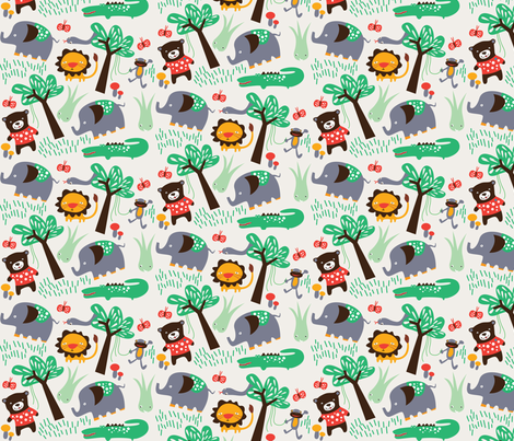 Jungle Animals on Natural fabric by suryasajnani on Spoonflower - custom fabric