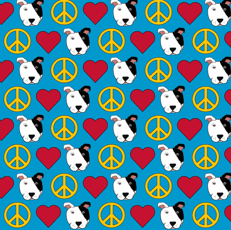 Peace, Love, & Sparky the Pit Bull fabric by missyq on Spoonflower - custom fabric