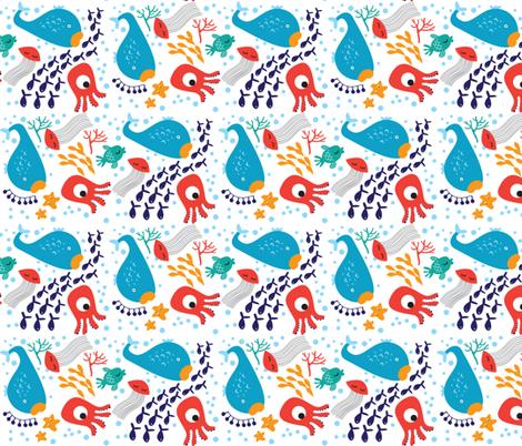 Sea Animals on White fabric by suryasajnani on Spoonflower - custom fabric