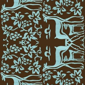 Arts&Crafts deer teatowel - seafoam on dkbrown-30