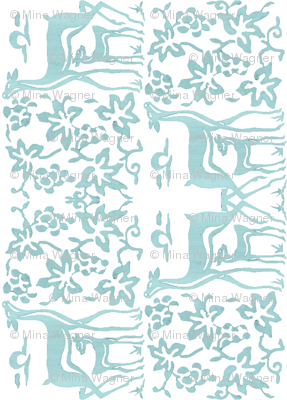 Arts&Crafts deer teatowel - seafoam on white