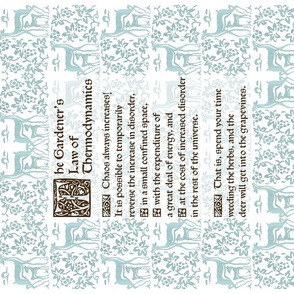 Gardeners Law of Thermodynamics teatowel - sepia text on seafoam