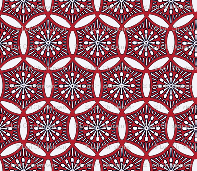Shashiko Circle Deco Red