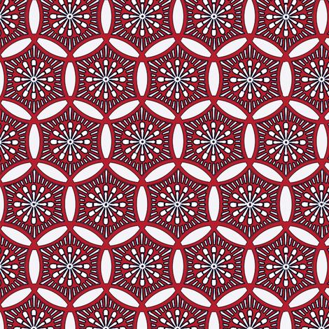 Shashiko Circle Deco Red fabric by keweenawchris on Spoonflower - custom fabric