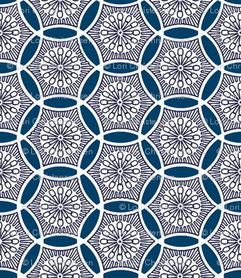 Shashiko Circle Deco Blue