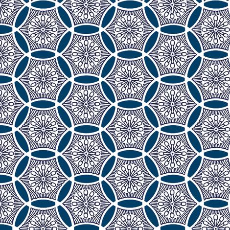 Shashiko Circle Deco Blue fabric by keweenawchris on Spoonflower - custom fabric