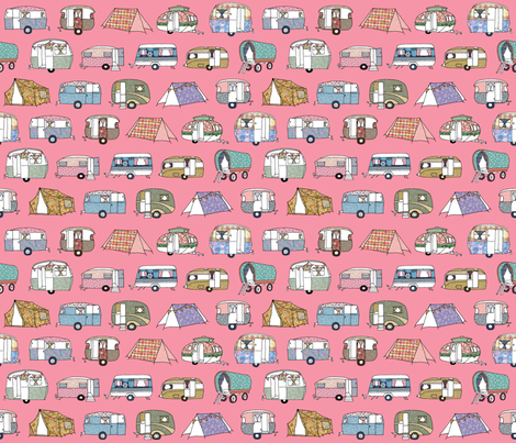 Vintage_Camping_FQpink fabric by peppermintpatty on Spoonflower - custom fabric