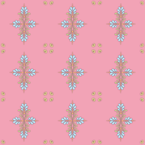 Fabric_kolam_dot_pink fabric by vannina on Spoonflower - custom fabric