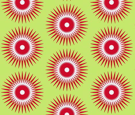 Holiday Starburst red + green fabric by fable_design on Spoonflower - custom fabric