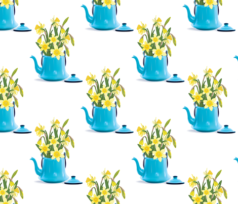 Vintage Tin Kettle With Daffodils fabric by diane555 on Spoonflower - custom fabric