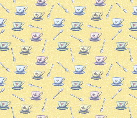 Cute Sketchy Teacups & Spoons fabric by diane555 on Spoonflower - custom fabric
