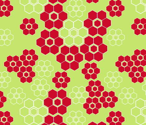 Mod poinsettias green + red fabric by fable_design on Spoonflower - custom fabric