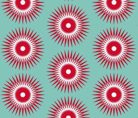 Holiday Starburst  red + blue fabric by fable_design on Spoonflower - custom fabric