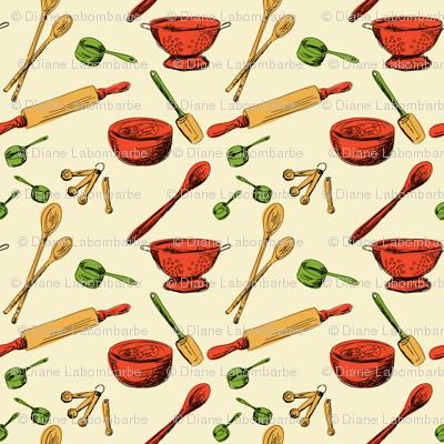 Retro Kitchen Gadgets Pattern