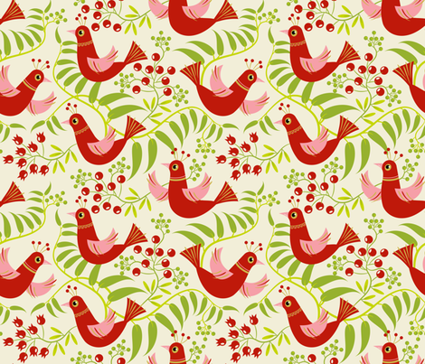 Birds, Berries and Blooms ~ Holiday fabric by retrorudolphs on Spoonflower - custom fabric