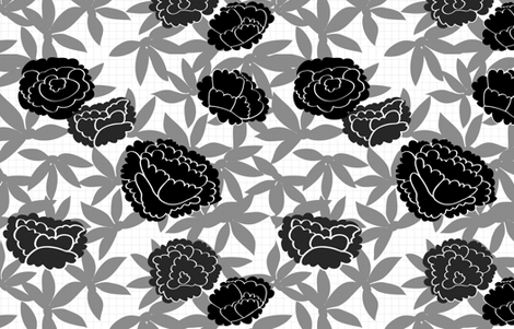 Black & White Asian Floral fabric by fable_design on Spoonflower - custom fabric