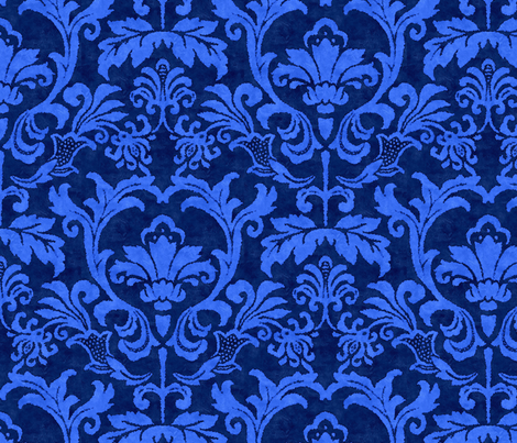 Blue Damask Smaller Scale Fabric Littlerhodydesign