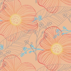 Hand Drawn Flora in Orange