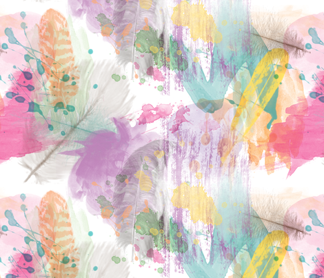 Painted Feather fabric by olivia_henry on Spoonflower - custom fabric
