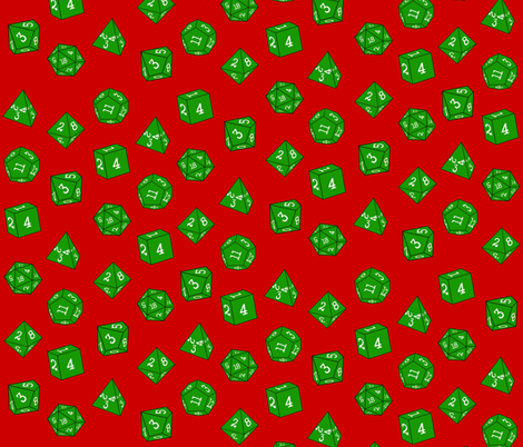 Green Christmas Dice fabric by tanith on Spoonflower - custom fabric