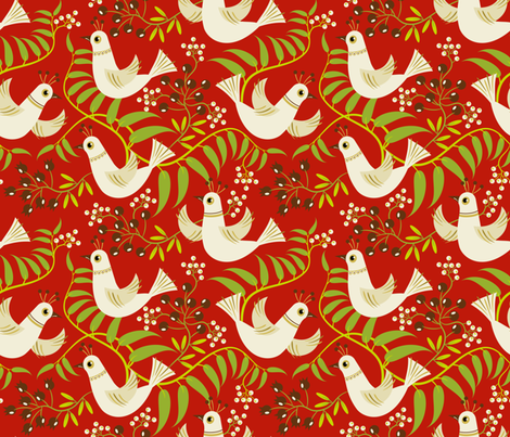 Birds, Berries and Blooms ~ Woodland Berry fabric by retrorudolphs on Spoonflower - custom fabric