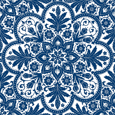 Bourgogne Tile ~  Lonely Angel ~ Blue & White & Bright   fabric by peacoquettedesigns on Spoonflower - custom fabric