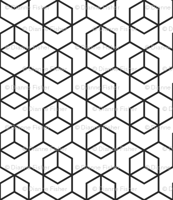 Hexagon trellis - black on white