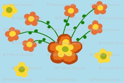 Orange Burst of Flowers