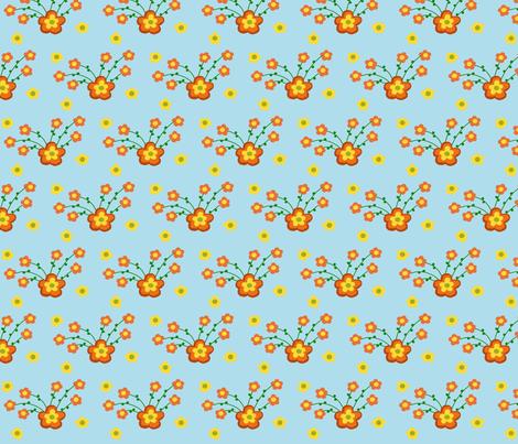 Orange Burst of Flowers fabric by pmegio on Spoonflower - custom fabric