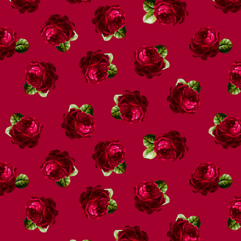 Roses test with leaves fabric by joanmclemore on Spoonflower - custom fabric