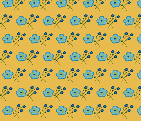 butter blue flower fabric by pmegio on Spoonflower - custom fabric