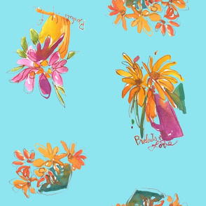 Sunflowers Bouquet Turquoise