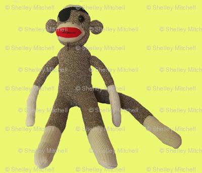 Pirate sock monkey in yellow