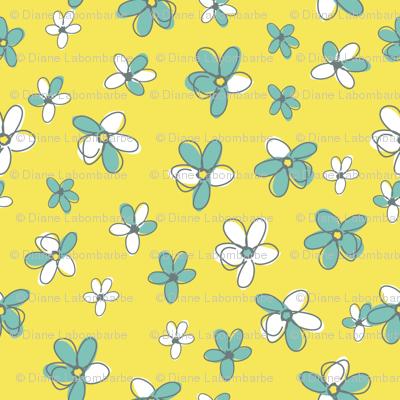 Sunny Flight Polka-Dots  Cute Doodled Daisies