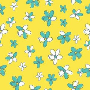 Sunny Flight Polka-Dots  Cute Doodled Daisies