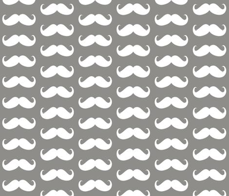 mustache  bigger grey fabric by katarina on Spoonflower - custom fabric